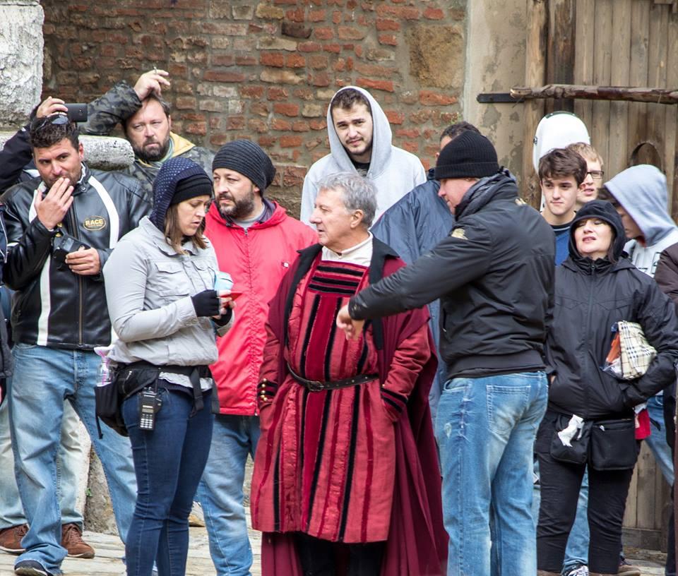 Dustin Hoffman durante le riprese a Montepulciano