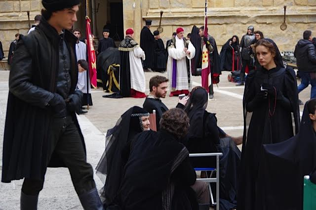 Le riprese in Piazza Pio II a Pienza
